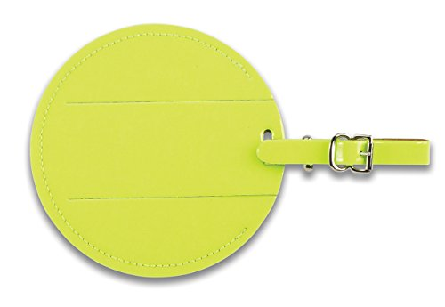 Yellow Neon Luggage Tag (Lewis N Clark Round Neon Tag with Closed Security Flap, Yellow, One Size)