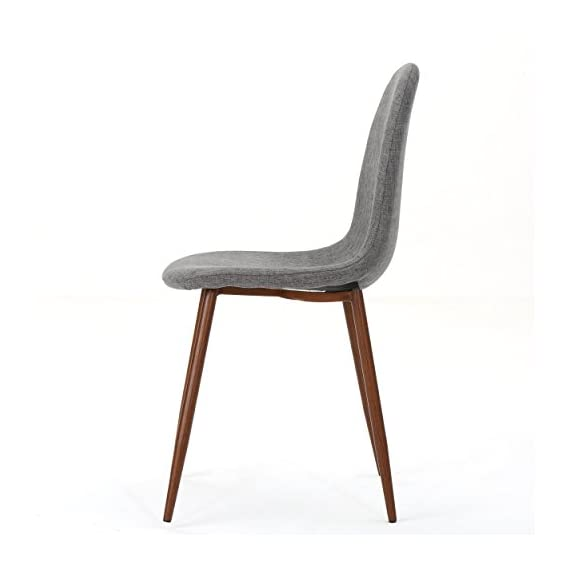 """Christopher Knight Home Raina Mid-Century Modern Fabric Dining Chairs with Wood Finished Metal Legs, 2-Pcs Set, Light Grey / Dark Brown - """"Includes: two (2) chairs material: fabric composition: 100% polyester Leg material: metal with wood Finish color: light grey Leg Finish: dark brown assembly required Hand crafted details dimensions: 20.75 inches deep x 17.50 inches wide x 34.50 inches high Seat width: 17.50 inches Seat Depth: 15.60 inches Seat Height: 19.00 inches"""" - kitchen-dining-room-furniture, kitchen-dining-room, kitchen-dining-room-chairs - 31JIRkpnl%2BL. SS570  -"""