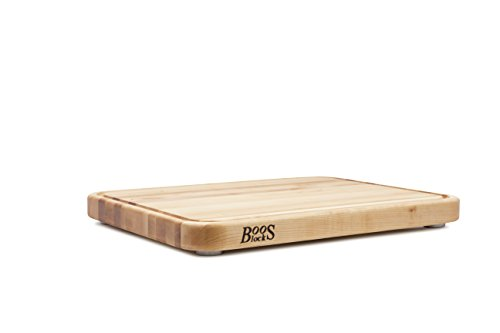 John Boos Tenmoku Cutting Board with Juice Groove and Stainless Steel Feet, 20 by 15 by 1.5'', Maple by John Boos