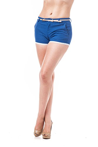 crochet lace shorts contrast comes with thin belt (Medium, Royal (Rayon Nylon)