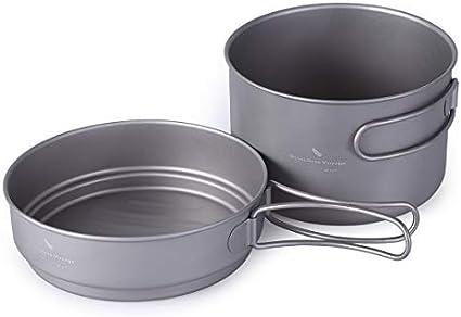 500 ml mapleoutdoor Juego de sart/én de Titanio con Mango Plegable para Acampada y Sopa 1080 ml 900 ml