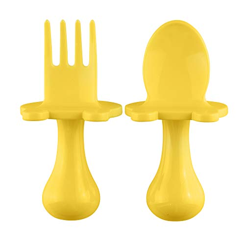 Babyware by eZtotZ Made in USA First Self Feeding Spoon Fork Utensil Set for Baby Led Weaning and Toddlers BPA Free (Yellow)