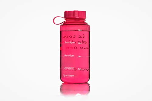 (PINK) Hydr-8 Sports Water Bottle 1000mL Tritan BPA Free Plastic 32oz