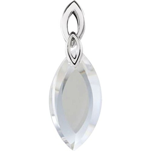 Bonyak Jewelry Sterling Silver 36x12x7mm Lime Quartz Marquise Shaped (Lime Quartz Pendant)