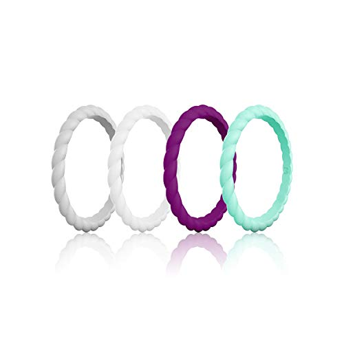 WIGERLON Womens Silicone Wedding Ring &Rubber Wedding Bands for Workout and Sports Width 3mm Pack of 4