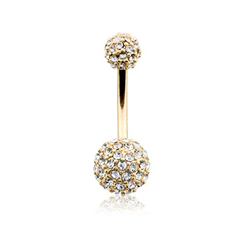 Golden Pave Half Dome Diamond Cluster Belly Button Ring (14 GA, Length: 10mm, Clear)