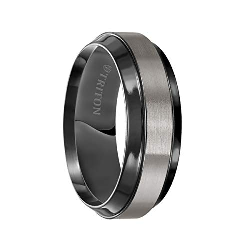 Triton Ring Black Titanium Flat with Beveled Edge Comfort Fit Band ()