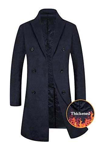 (Men's Trench Coat Wool Blend French Long Jacket Thicken Business Top Coat Double Breasted 1802 Navy)
