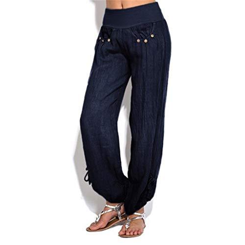 〓COOlCCI〓Women's Casual Pants & Capris,Comfy Casual Pajama Pants Solid Buttons Cotton Palazzo Lounge Pants Wide Leg Blue