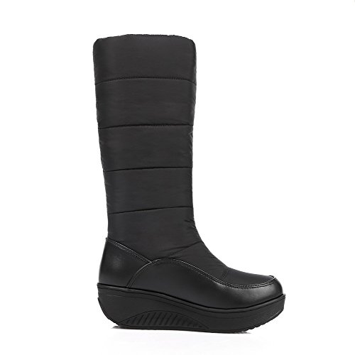 Round Boots AllhqFashion Closed Materials on Womens Blend Toe Kitten Solid Black Heels Pull qHRIrxHPw