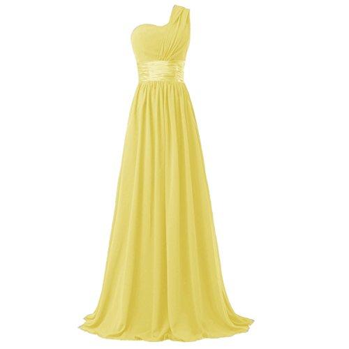 Ouman Women's Chiffon One Shoulder Bridesmaids Dresses Small Yellow