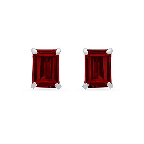 14k White Gold Solitaire Emerald-Cut Garnet Stud Earrings (7x5mm)