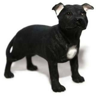Bull Dog Ornament Terrier - Black & White Staffordshire Bull Terrier Dog Ornament
