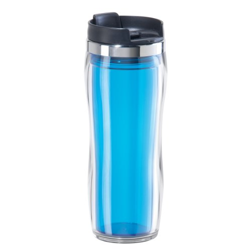 Oggi 8065.6 Fusion Double Walled Acrylic Travel Mug with Removable Tea Infuser, Aqua