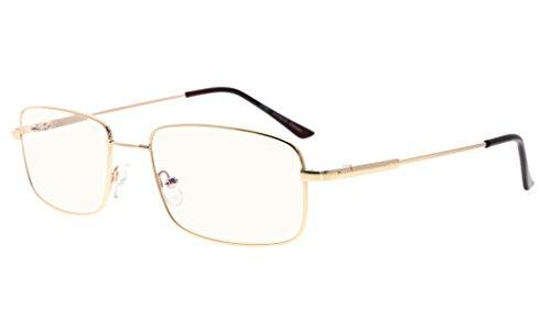 Eyekepper Reading Glasses-Blue Light Blocking-Reduced Eye Strain-Memory Computer Glasses Titanium Readers Men, Transparent Lenses (Gold,+0.75)