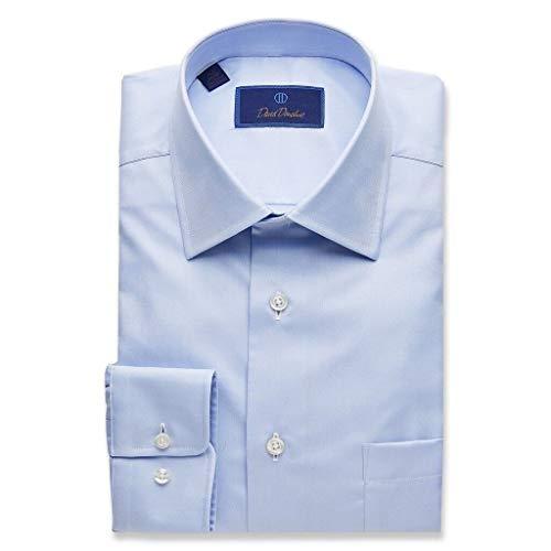 (David Donahue Mens Regular Fit Long Sleeve Twill Dress Shirt,Sky Blue,16