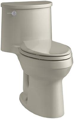 KOHLER K-3946-G9 Adair Comfort Height One-Piece Elongated 1.28 GPF Toilet with Aqua Piston Flush Technology and Left-Hand Trip Lever, Sandbar