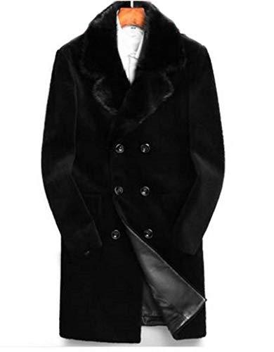 Men's Sz 42/44 Bon Mouton Lamb Fur Coat with Mink Fur Collar Sale!  Black