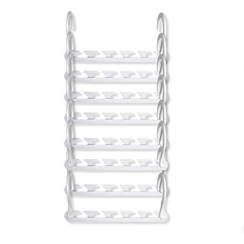 Wonder Hanger - Pack of 8 in White, Magical Cascading Hangers, Space Saving Solution for Your Closet