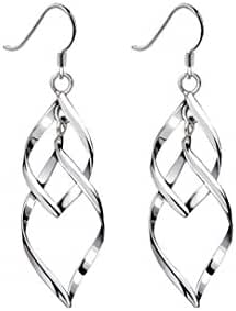 Dazzle Flash Platinum Plated Linear Swirl French Wire Dangle Drop Earrings-ESS002