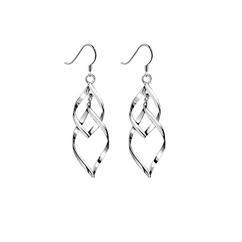 Double Swirl Earrings (Dazzle Flash Platinum Plated Linear Swirl French Wire Dangle Drop Earrings-ESS002)