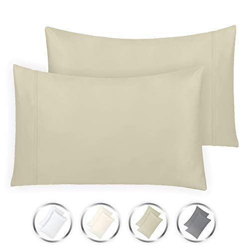 Martha Percale Pillowcase - California Design Den Hotel Style True Luxury 100% Pure Cotton 1000-Thread-Count Standard Size Solid Taupe (21