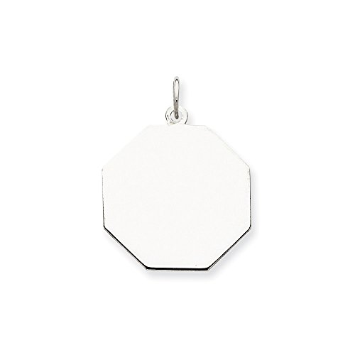 Sterling Silver Engravable Octagon Disc Charm (21 x 19mm)
