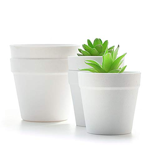 YIKUSH 5 Inch White Plant Pots Set of 5, Plastic Planters Indoor Modern Gardening Flower Plant Pots with Drainage for…