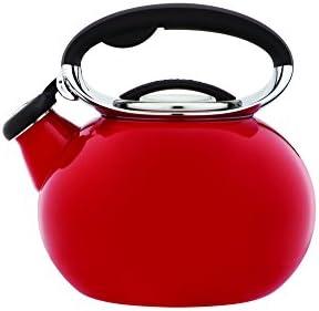 Copco 5193854 Ellipse Enamle On Steel Tea Kettle, 2-Quart, Red