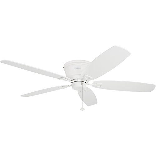 Honeywell Glen Alden 52-Inch Ceiling Fan, Hugger/Flush Mount, Low Profile, Five White/Maple Reversible Blades, White