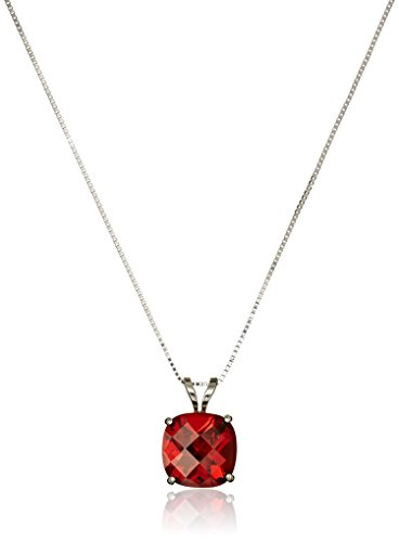 14k White Gold Cushion Checkerboard Cut Garnet Pendant Necklace (8mm)