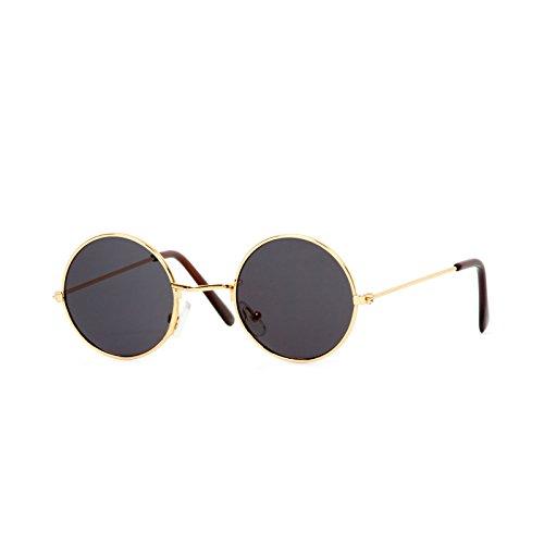 Circular Gold Frame Black Lens - Circular Sunglasses Black