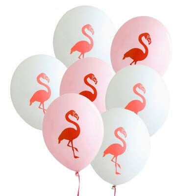 AnnoDeel 50 pcs Pink and White Flamingo Balloons, 12inch Flamingo Latex for Baby Shower Birthday Party Decorations Party Supply -
