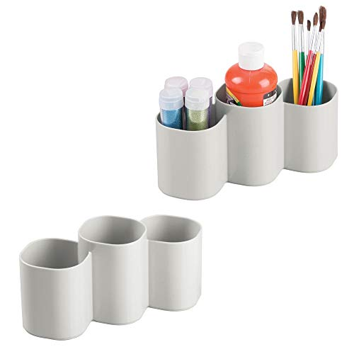 (mDesign Plastic Art/Craft Organizer Cup Holder, Divided Storage Organizer for Desks, Tables, Workspaces - Stores Chalk Markers, Paint, Colored Pencils - 3 Sections, 2 Pack - Light Gray)