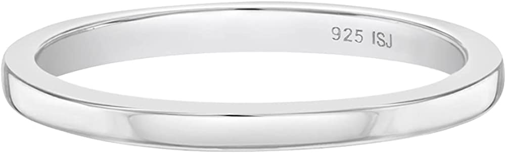 925 Sterling Silver Sizes 1-4 Unisex Shiny Small Plain Finger Rings for Young Girls or Boys - Classic Thin Ring Bands for Kids & Teens - Petite & Elegant Round Jewelries for Children's Daily Accessory