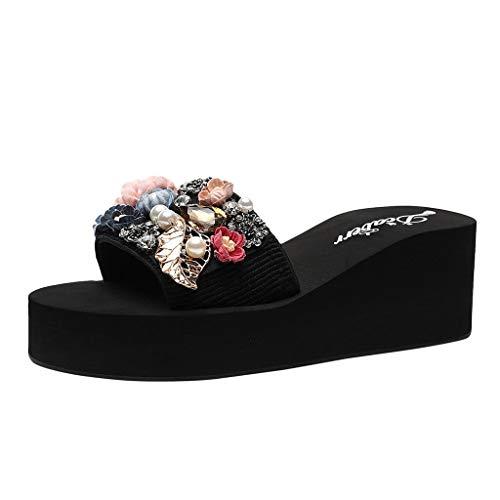 6cm Con Tacco Slippers Glitter Alto Spiaggia Pantofole slip Estate Beach Perla Dragon868 Eleganti A Non Strass Floreale Sandali Rosa Scarpe Zeppa wtqISHY