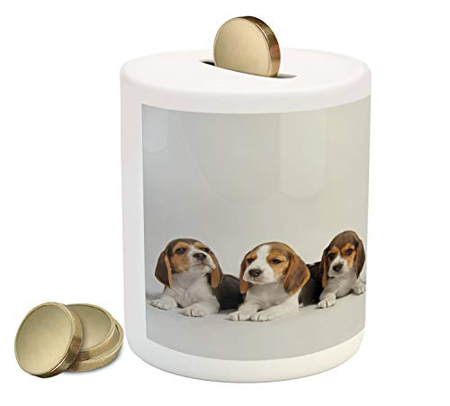 Lunarable Beagle Piggy Bank, Puppies Sitting Dog Studio Photography Pet Lover Friends Theme, Printed Ceramic Coin Bank Money Box for Cash Saving, Dust Pale Caramel and Caramel ()