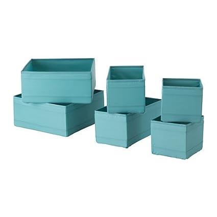 Ikea Skubb Cajas en color azul claro; – Juego de 6