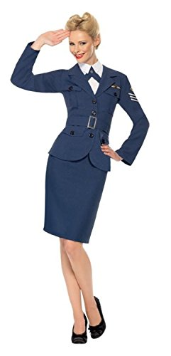 Ladies Ww2 Air Force Female Captain Army Outfit - Size 8-10 (Blue) - Peggy Carter Costume