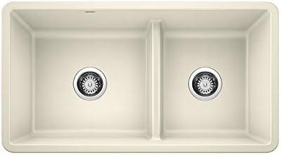 BLANCO 442526 PRECIS Undermount Granite Composite 33 in. 60 40 Double Bowl Low Divide in Biscuit Kitchen Sink