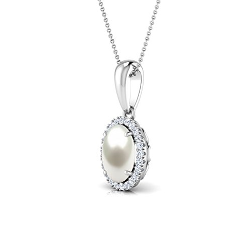 Or jaune 18K 0,1ct tw Round-cut-diamond (IJ | SI) et perle Pendentif