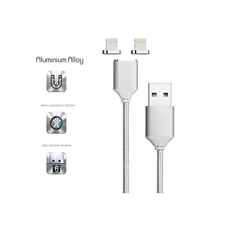 Price comparison product image Newest Strongest Magnet Silver 2.4A CoolKo Magnetic Braided USB Fastest and High Speed Charging Charging Cable for All iPhone X,  8 Plus,  7 Plus,  iPad,  iPod and AirPods [ 1 Cable with 2 iPhone Heads]