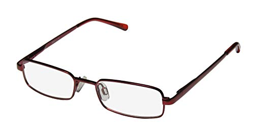 D&A Dollup Unisex/Boys/Girls/Kids Rectangular Full-Rim Shape Spring Hinges Simple & Elegant Ultimate Comfort Eyeglasses/Eyeglass Frame (45-16-125, Burgundy) (D-frame Brille)
