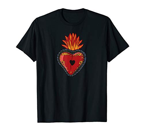 Flaming Sacred Heart Mexican Folk Art Devotion Symbol - Heart Designs Sacred