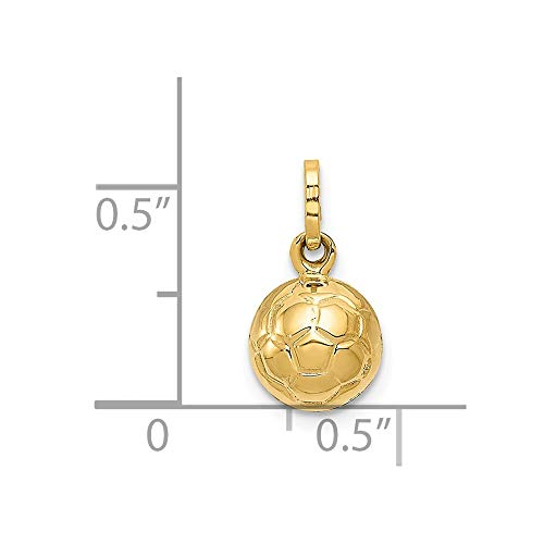 14k Yellow Gold 3-D Soccer Ball Pendant ()