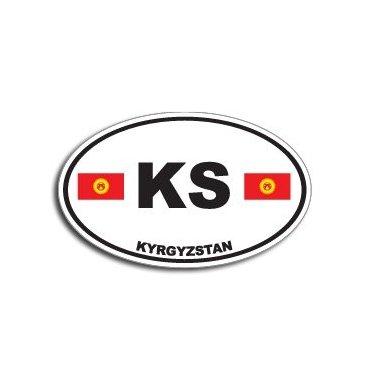 KS KYRGYZSTAN Country Auto Oval Flag - Window Bumper - 946 Oval