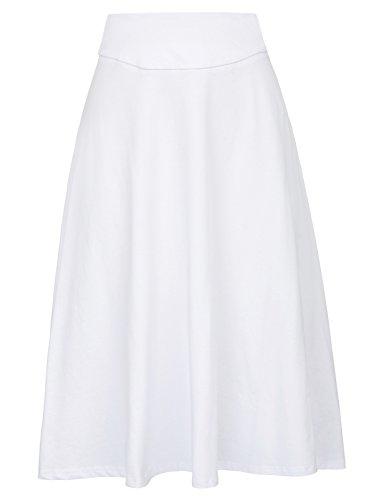 Kate Kasin Jupe Femme en Coton Midi Longue Haute Taille Casual Jupe de Bal KK279 Blanc