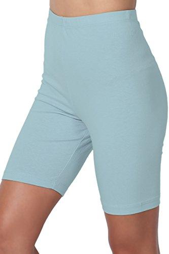 Cotton Jersey Knee Pants - TheMogan Women's Mid Thigh Cotton High Waist Active Short Leggings Dusty Blue L