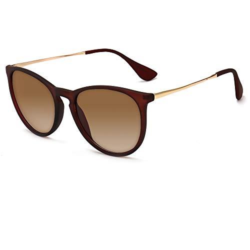 SUNGAIT Vintage Round Sunglasses for Women Classic Retro Designer Style (Brown Frame Matte Finish/Brown Gradient ()