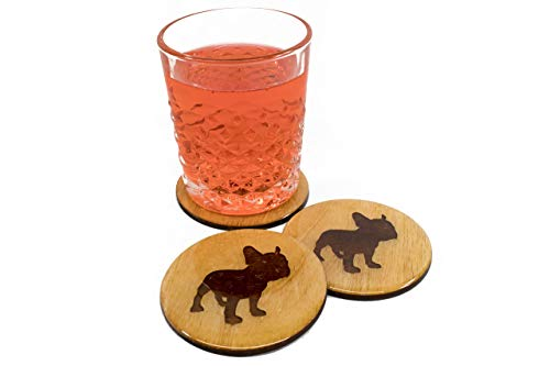 (Premium French Bulldog Coasters - Set of 4 Handmade 3.5